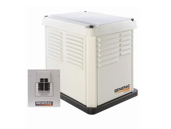 Generac CorePower Series 5837 7,000 Watt Air-Cooled Natural GasLiquid Propane Powered Standby Generator With Transfer Switch